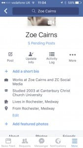 add facebook short bio